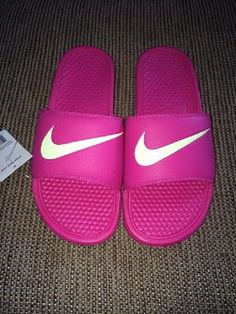 7887234ab3c871 Nike Benassi Swoosh Slide Sandals Womens Vivid Pink Volt NWT Close out Sale