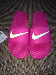 Nike Benassi Swoosh Slide Sandals Womens Vivid Pink/Volt NWT Close out Sale #Nike #Slides