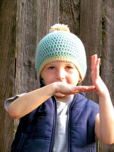 f3573d68d29 Items similar to Toddler Boy Crochet Hat with Pom Pom - Light Blue and Mint  Green Beanie - 3T - 6T - Made to Order on Etsy. Crochet Hats For BoysBoy ...