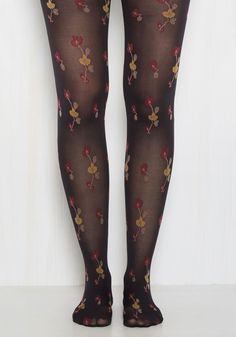 It is within your nature to be kind, caring, and honest - show this by wearing these black tights. Decorated with delicately embroidered cherry blossoms in saffron and…