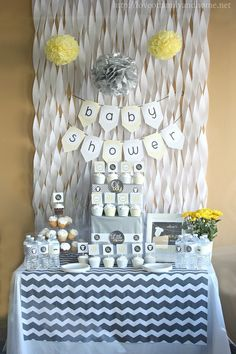 Gray and yellow baby shower decorations on a budget. Lots of decorating ideas for throwing a baby shower without spending a lot of money. Idee Baby Shower, Baby Shower Yellow, Shower Bebe, Baby Yellow, Baby Boy Shower, Baby Shower Gifts, Diaper Shower, Yellow Chevron, Baby Showers