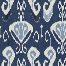 Kravet Ikat Fabric  Bansuri Ranjani 54  Echo White blue Navy Indigo