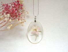 Resin Pendant Transparent Pendant Eco Botanical Jewelry