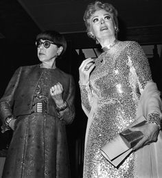 Edith Head, left, and Greer Garson following the awards ceremony at the Costume Designers Guild Ball at the Century Plaza Hotel on March 20, 1969.