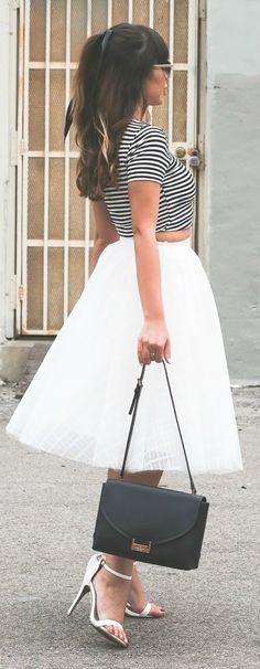 Stiletto Beats Stripes And Tulle Outfit Idea