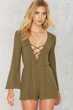 Down to Earth Ribbed Romper - Rompers + Jumpsuits