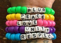 PLUR // Festival Kandi Rave Bracelets // set of 5