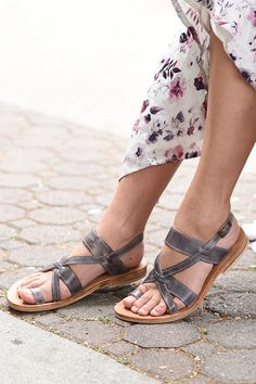 These distressed blue sandals are from BEDSTU and are made with organic leather and toxic free paints. The leather is double tanned for increased flexibility and comfort. Great from a summer outfit with inspiration from free people or Anthropologie.