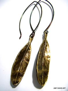 Brass Leaf Earrings LAST PAIR Long Earrings Metal by AmyDavisArt