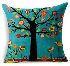 Oil Painting Black Large Tree and Flower Birds Cotton Linen Throw Pillow Case Cushion Cover Home Sofa Decorative 18 X 18 Inch (black) (colorful). Shopswell | Shopping smarter together.™