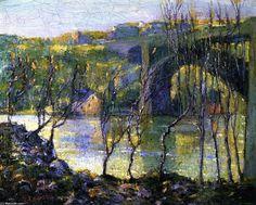 "Washington Bridge, Harlem River"" Ernest Lawson - Oil On Canvas - 1915 - ("