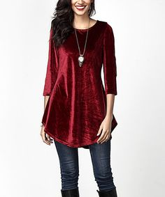 Another great find on #zulily! Red Velvet Elbow Patch Tunic #zulilyfinds