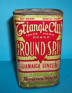Rare Vintage Spice Tins | VINTAGE-TRIANGLE-CLUB-4OZ-JAMAICA-GINGER-SPICE-TIN-CAN-MONTGOMERY-WARD ...