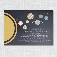 Aurora Little Girls' or Boys' Planetary Solar System Birthday Invitation (Abstract solar system, space themed, printable party invitation) on Etsy, $15.00