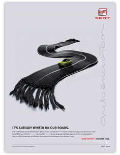 SEAT Service Ad06/08 by Fabián Andino, via Behance Clever Advertising, Online Advertising, Print Advertising, Ads Creative, Creative Artwork, Advertising Techniques, Great Ads, Ad Art, Modern Graphic Design