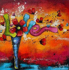 danielle champoux art Flower Artwork, Oeuvre D'art, Symbols, Artist, Painting, Color, Midnight Blue, Daisy, Toile