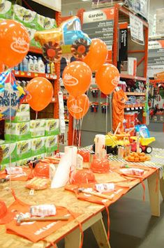 Home Depot Construction kids birthday party theme cheap quick easy