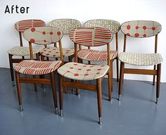 Old timber chairs upholstered with fabric and new metal feet added