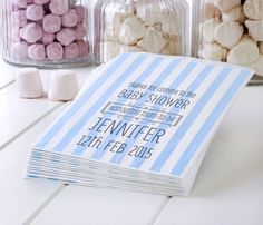 50 Light Blue Personalised Baby Shower Paper Sweet Bags Treats Favour Candy