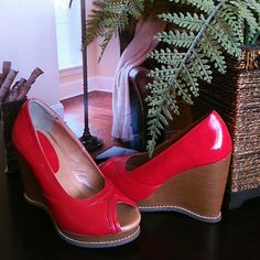 FLASH SALELADIES WEDGE HILLS Patent red color peep toe shoes worn once. Like New condition. Shoes Heels