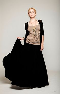 almond ruched halter top,  black cotton seamed maxi skirt, black long cardigan sweater.jpg