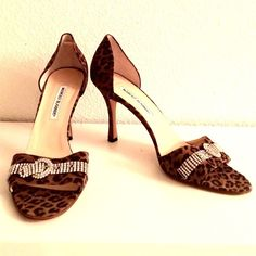 "Manolo Blahnik Animal Print Pumps Stunning Manolo Blahnik Pumps. Animal Print with Gorgeous Rhinestone Buckle Peep Toe Stiletto Sandals. Size 41 Euro. Heels 4"". Leather Sole. Manolo Blahnik Shoes Heels"