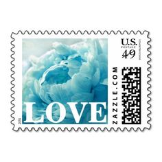 Personalizable, Teal Peony LOVE Postage Stamps. Use as is or customize with your own text, monogram, couple's names, special date, etc in your favorite font and color. Great for wedding, bridal shower, engagement party, vow renewal, and anniversary invitations, announcements, save the dates, and thank yous. Available horizontal or vertical, a variety of peony colors, various postage denominations, and in other matching items (invitations, envelope seals, favor stickers, napkins, etc)…