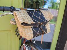 BIKE HANDLEBAR BAG bicycle basket with leather by boneshakerbags