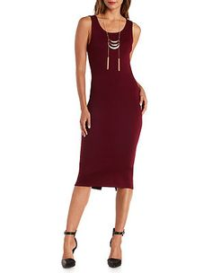 Plunging-Back Bodycon Midi Dress: Charlotte Russe