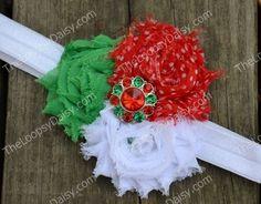 Christmas Headband, Shabby Flower Headband, Santa Headband, Christmas Bow, Baby Bow Headband, Christmas Dress tutu, Headband with Flowers. $10.95, via Etsy.