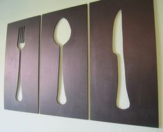 DIY Silverware Silhouettes cut out of plywood and painted with chalk paint