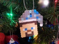 Minecraft Ornament  Steve with Diamond Santa Hat by beadelia, $3.00