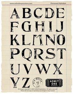 Distressed Alphabet  Price : $24.00 http://store.oxfordimpressions.com/Oxford-Impressions-Distressed-Alphabet/dp/B004HGHHGI