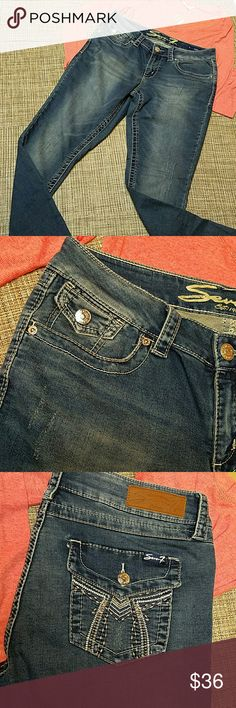 """Seven7 jeans Sadly a Re Posh, bought them as NWOT (NEW No Tags). Amazingly soft and comfortable and makes your butt looks amazing 🖒🖒🖒!!!! They have 2% spandex so there is a good stretch. They really are the most comfortable jeans I have ever tried, I wish they fit me!!  I just would like to get close to what i paid for them. Tagged 10 skinny. Inseam 29"""", lenght from waist to hem 38"""", waist 16.5"""". Distressed look. Seven7 Jeans"""