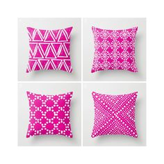Throw Pillow - Modern Fuchsia and White Geometric triangle circle dot - Throw Pillow Cover 16 18 20 24 inch by ButtercupForrest on Etsy