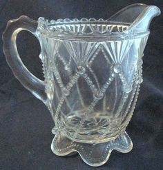 greentown glass patterns | Eapg Greentown glass 'Cord Drapery' Indiana Tumbler & Goblet creamer ... Greentown Indiana, Indiana Glass, Vintage Bottles, Vintage Glassware, Cream And Sugar, Early American, Pressed Glass, Glass Collection, Glass Jars