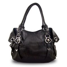 New York Hobo Handbag (Black) - Made from textured leatherette with silver-tone hardware. Tan Handbags, Hobo Handbags, Handbags Online, Shoulder Handbags, Shoulder Bags, Pouch Bag, Balenciaga City Bag, Purses And Bags, Messenger Bag