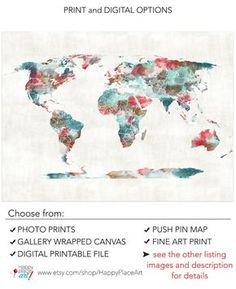 Very large Custom World Map Print with by HappyPlaceArt on Etsy