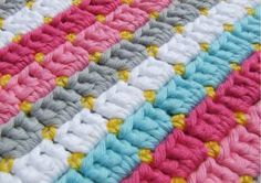 Download Pastel Block Stitch Baby Blanket Crochet Pattern (FREE)