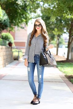 Double Layer Gingham Shirt less than $40