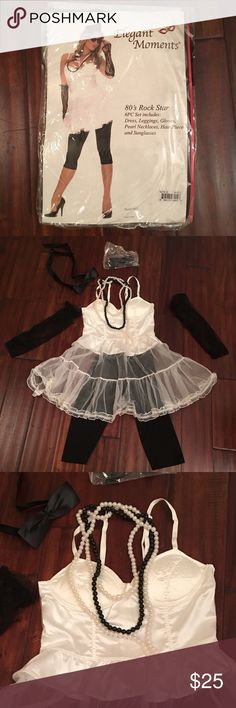 80s Rock Star Set Good condition  Set includes dress, lace gloves, leggings, sunglasses, pearl necklaces and hair piece Other