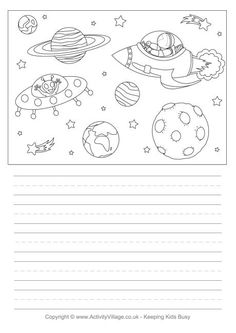 Put your cosmic thoughts down on this special space story paper. Plus, there's an amazing picture to colour in! Page Borders Free, Solar System Coloring Pages, Solar System Projects, Space Story, Space Activities, Teaching Biology, Learn To Draw, Science And Nature, Colorful Pictures