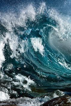 blue ocean wave | beach, ocean & sea . Strand & Meer . plages & mer | Sad @ Mikael's Playground |