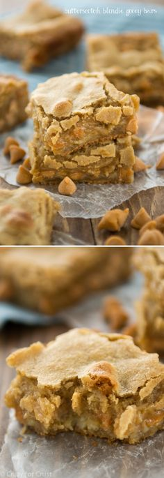 Butterscotch Blondie Gooey Bars - like a blondie but in gooey bar form, with butterscotch chips! #food #yummy #delicious