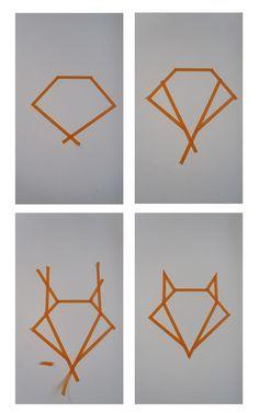 baby room ideas 78883430952538090 - etapes_fox_masking_tape Source by mel_ai_mei Masking Tape Art, Tape Wall Art, Washi Tape Wall, Art Wall Kids, Diy Wall Art, Diy Wall Decor, Diy Art, Origami Design, Diy Origami