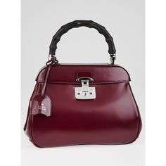Pre-owned Gucci Purple Smooth Leather Lady Lock Bamboo Top Handle Bag ($1,495) ❤ liked on Polyvore featuring bags, handbags, pre owned purses, top handle purse, top handle bag, locking purse i top handle satchel