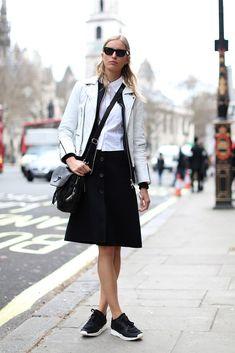 70 Amazing London Street-Style Snaps #refinery29  http://www.refinery29.com/london-fashion-week-street-style#slide-21  Karolina Kurkova looks the bomb in monochrome....