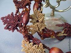 """Бусы """"Вальс-бостон""""(-50%) - бусы,осенние листья,Макраме,macrame,оригинальное украшение"""