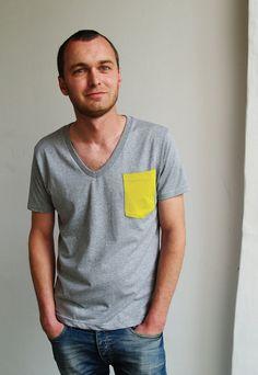 Yellow Pocket V-neck T-shirt - Organic Cotton Mens T-shirt