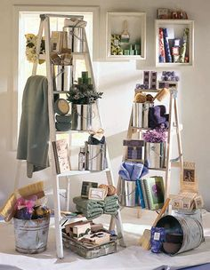 Have a couple of extra ladders in the back room? Use this display idea to paint a pretty picture with your personal-care products. Shop Window Displays, Store Displays, Window Display Design, Merchandising Displays, Design Commercial, Bg Design, Booth, Visual Display, Retail Space